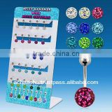 Display with 25 pcs of surgical steel belly banana with multi-crystal ferido ball with raisin cover