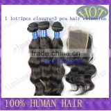 Free Shipping Epacket to USA Hot sale Lace Closure with Hair Extension 5A Top Quality Virgin Body wave Brazilian human hair