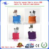 Colored Fabric Textile Micro-USB/8pin/30pin USB Type Nylon Braided USB Sync Charger Cable