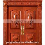 Main entry double solid wood carving design door YHA-1101