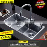 China manufacturer best quality double bowl hand made 304 stainless steel kitchen sink                                                                         Quality Choice