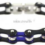 YM071 black & blue ladies bike chain motorcycle bracelets stainless steel crystals bracelets