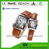 China Guangdong watch factory made genuine leather couple brown leather strap watches Roman Numbers watches Western Union Accept