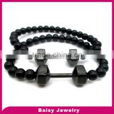 factory price cheap custom engraved fitness beaded dumbbell bracelet stainless steel jewelry