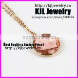 KJL-A0393 Crystal pink glass beads necklace,faceted bezel quartz stone gold chain necklace jewelry
