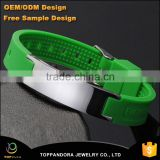 Green (Color) Power Silicone Wristband 4 In 1 Bio Elements Energy Magnetic Bracelet Stainless Steel Clasp For Men Wrist Band                                                                         Quality Choice