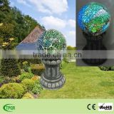 Solar mosaic glass gazing ball with polyresin roman columns base solar garden light
