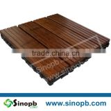 Square DIY Bambu Deck Tiles with Interlocking Baseboard Plastic