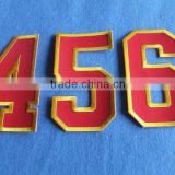 Wholesale applique embroidered sport textile numbers letters , custom arm name 3d embroidery patch
