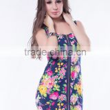 The most popular flower printed sexy women front zipper mini style latest short dress