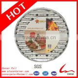"13 2/5"" x 7/10"" Disposable Food Baking Catering Outdoor Round Aluminum Foil Grill Tray 200/Case"