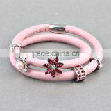 ZMZY Top Fashion Pink Genuine Leather Warp Bracelet Endless Charm Bands Double Layer for Women Jewelry