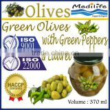 Green Olives with Green Peppers & Laurel,Tunisian Table Olives,Table Green Olives 370 ml Glass Jar