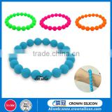 Free sample!!colourful silicone bead bracelet, cheap custom silicone bead wristband, silicone rubber ball bracelet band