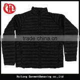 Light weight black color men nylon winter jacket zip up
