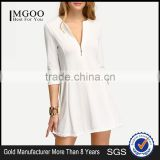 White Zipper A-Line Dress Plain Casual Polyester Fabric Spring V Neck Short Dress With 3/4 Sleeve