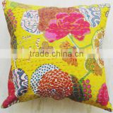 "16x16"" yellow Kantha Pillow Cover, Kantha Throw Pillow, Kantha Cushion Cover, 16x16 Floor Pillow, Indian Pillow"