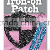 mini Glitter Iron on PU patches colorful patch fabric patch