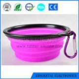 Custom Printed Logo Silicone Collapsible Travel Dog Bowl With Carabiner