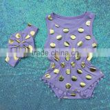 Baby Girls Pom Pom Play Romper purple gold polka dots outfit birthday romper set jumpsuit