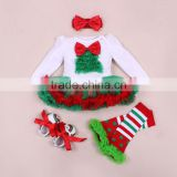 Custom Design Cotton Baby Girls' Red Bow 1st Christmas Tree Pettiskirt Set