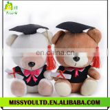 Low price plush sitting graduation teddy bear toy with doctor hat