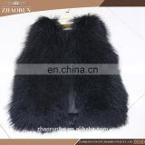 wholesale price mongolian lamb fur vest classic tibet lamb fur vest for women