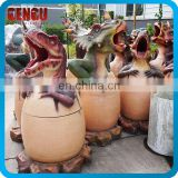 Zoo Park Handmade Fiberglass Dinosaur Dustbin Decoration