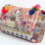 Women Customized hot selling indian Vintage Tribal handmade patchwork banjara clutch bag with beaded mirror work tassel coin