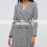 Hot Fashion Woolen Overcoat Slim Lapel Design Houndstooth Suit Coat Winter For Women