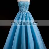 Latest 3D Flowers Illusion Lace Appliqued Beaded Blue Long Evening Dresses 2016 Floor Length Off Shoulder Puffy Prom Dress
