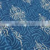 Blue Discharge Hand Block Printed Fabric