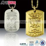 High end metal gold army dogtag with key chain