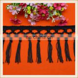 High quality 10cm long black rayon tassel fringe trim for dress