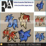 2017 NEW Arrival Sequins Goldfish Embroidery Patches for Clothing Patches iron on Clothes Bags Pants