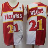Atlanta Hawks #21 Wilkins Throwback white&red Jersey
