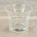 Wholesale promotional crackle glass votive candle holders for wedding or home/table decoration