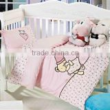 Embroider Bear Bedding Cotton Baby Comforter Set 200TC In Pink Color