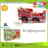continued selling wooden vehicle toys fire fighting truck OEM wooden fire truck toy for kids EZ5130-1