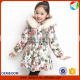 New design korean patterns floral winter coat dress for girl wear baby clothes wholesale warm winter jacket (ulik-J006)