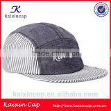 high quality Plain Pattern Striped Style camp cap OEM flat bill 3d embroidery logo 5 panel hat cap
