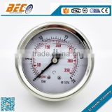 Stainless steel case liquid filled inclined tube manometer