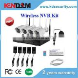 Kendom best selling high definition 4ch wireless wifi cctv kit with a package of 4 cameras, 1nvr and four power supply