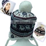 Uneed embossed christmas beanie hat with built in headphones