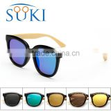 Handcraft sustainable eco-friendly custom wood sunglasses polarized mirror lens PC frame sunglasses with bamboo temple