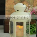 white romantic metal lantern wiht LED canle light battery operated