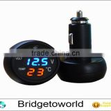 Hot selling 3 in 1 Digital LED car Voltmeter Thermometer Auto Car USB Charger 12V/24V Temperature Meter Voltmeter