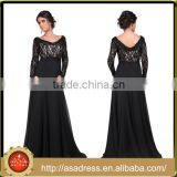 BAM1004 Generous Lace Appliqued See Through Bodice Party Gown 2016 V Neck Low Back Chiffon Long Black Prom Dress with Sleeve