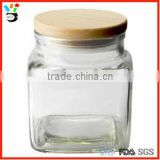 Bath,Body & Home Fragrance Raw Ingredients Package Container Clear Square Glass With Wooden Lid