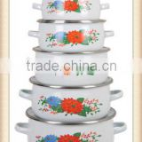 2014 Best Quality Durable Red&Blue Flower Decal Enamel Cookware Set Enamel Pot 5 Pcs Stock Belly Pot With Glass Lid